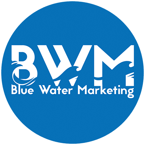 Blue water marketing circle logo