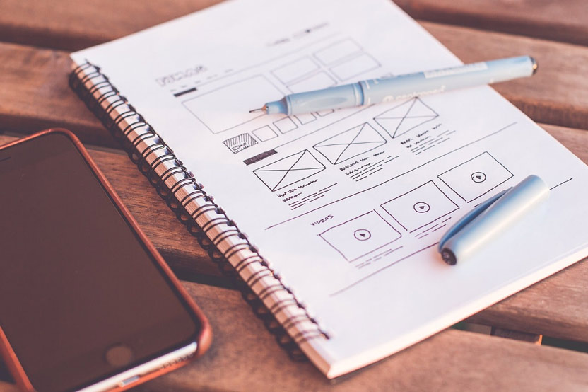 sketch of website design updates