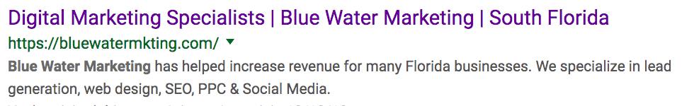 blue water marketing meta description