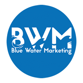 blue water marketing round logo