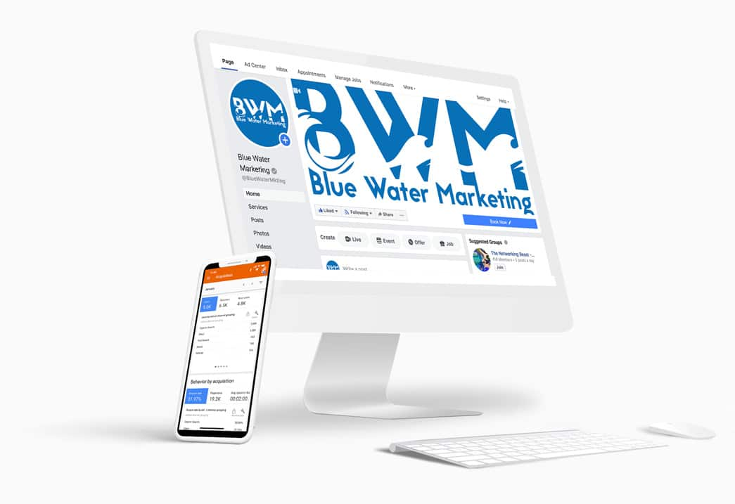 blue water marketing page on a computer screen