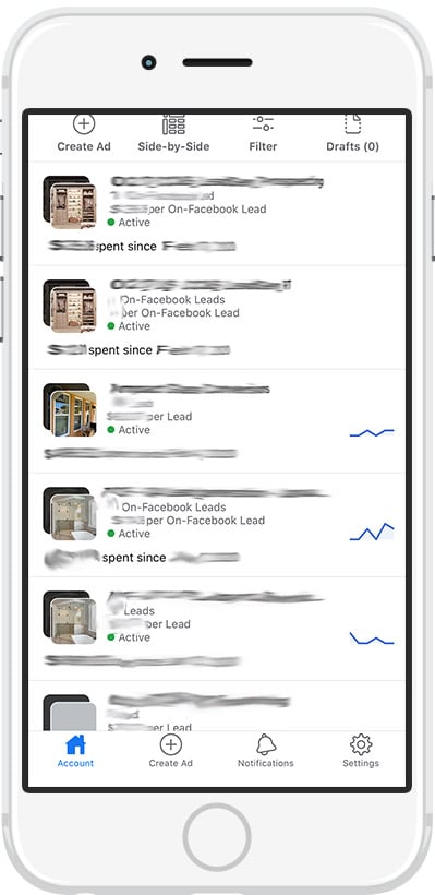 Facebook ads on mobile phone