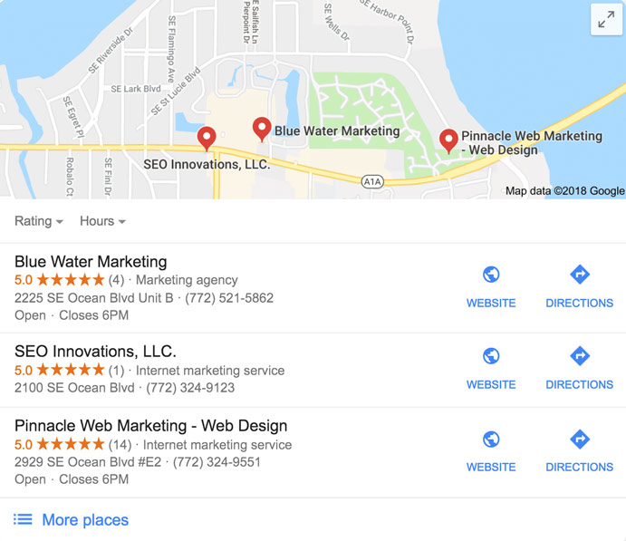 Local SEO Marketing Companies on Google Map
